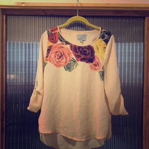 Floral, off white blouse- medium